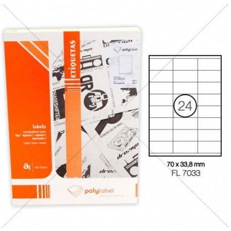 ETIQ. FEGOLABEL A4 70X33,8MM BRANCA