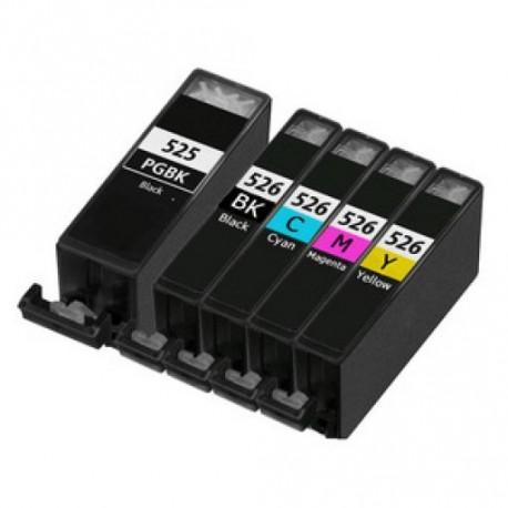 Pack 5 Tinteiros Canon Compativeis 525/526 BK/ M/C/Yag