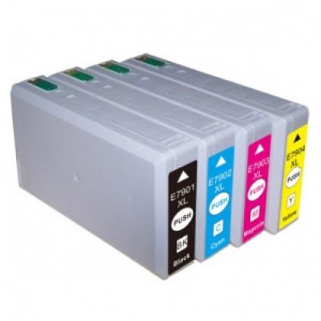 Pack 4 Tinteiros Compatíveis Epson T7911/7912/7913/7914 XL