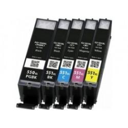 Conjunto 5 Tinteiros Canon Compativeis PGI-550BK/CLI-551C/M/Y XL XL