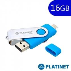 Pen Drive Goma USB x16 GB 2.0 Platinet OTG Conector Micro-Usb Azul
