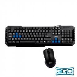 Teclado USB PC Kit 3GO Teclado Preto + Rato Combodrile W