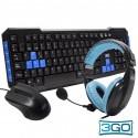 Teclado USB PC Kit Rato e auscultadores Stereo 3GO Kit CombodrileH