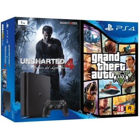 Consola PS4 1TB + Jogo Uncharted 4 + Jogo GTA V
