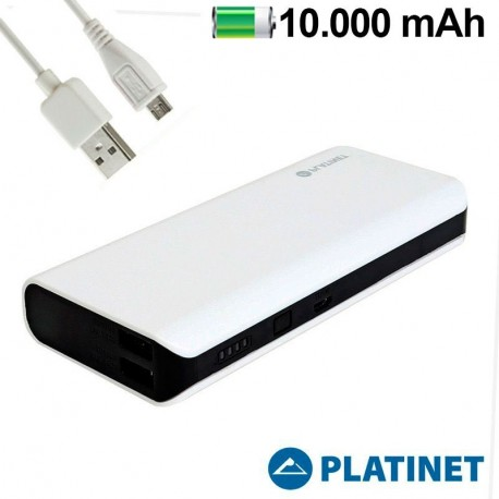 Bateria externa Universal Power Bank 10.000 mAh Slim White Platinet