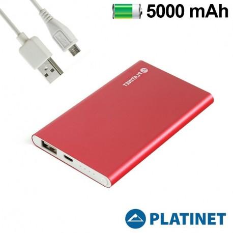 Batería externa Micro-usb Power Bank 5000 mAh Platinet Slim Red (Polímero)