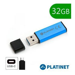 Pen Drive PLatinet 32GB + Adaptador Tipo C